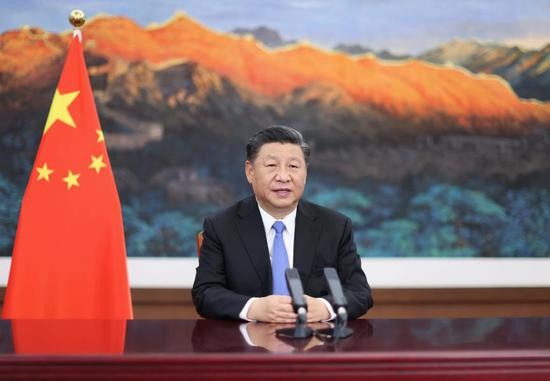 Chinese President Xi Jinping delivers a keynote speech via video at the opening ceremony of the third China International Import Expo held in east China's Shanghai on Nov. 4, 2020. (Xinhua/Ju Peng)