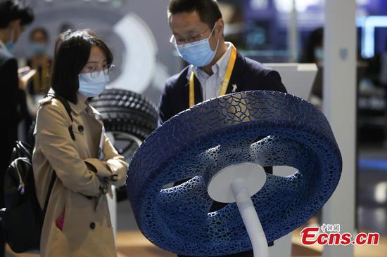 Michelin's airless passenger-car tire exhibited at 3rd CIIE