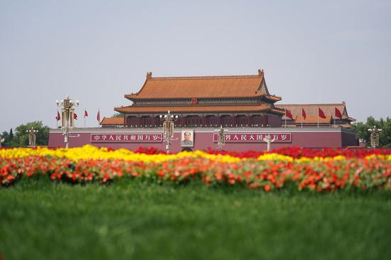 Photo taken on May 28, 2020 shows a view of the Tian'anmen Square in Beijing, capital of China. (Xinhua/Xing Guangli)