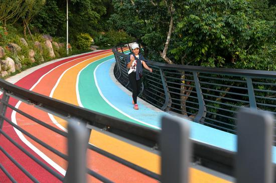 A rainbow footpath built in a forest in Fuzhou
