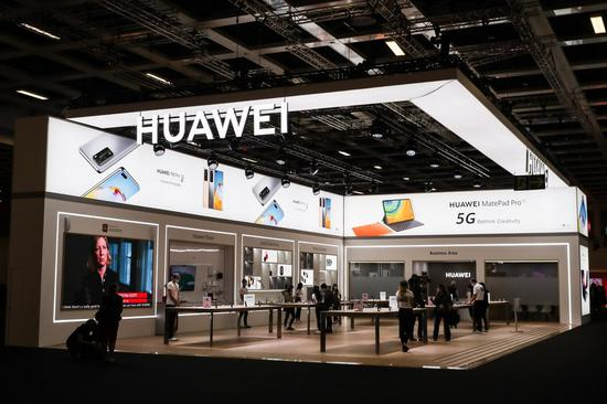 Photo taken on Sept. 3, 2020 shows a view of the booth of Huawei during the 2020 IFA fair in Berlin, capital of Germany. (Xinhua/Shan Yuqi)