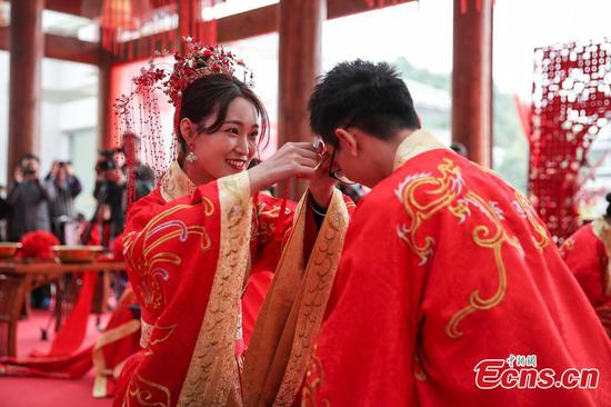 Ancient wedding ceremony held in Guiyang