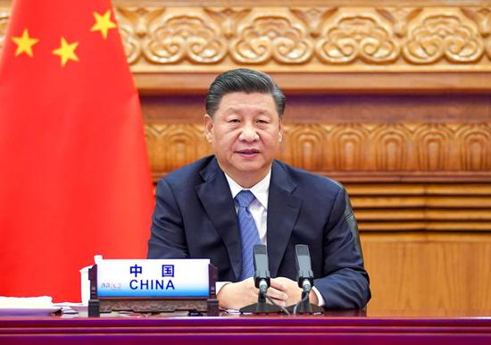 Chinese President Xi Jinping attends the 12th BRICS summit via video link in Beijing, capital of China, Nov. 17, 2020. Xi delivered an important speech at the summit. (Xinhua/Li Xueren)