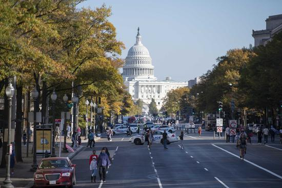 Photo taken on Nov. 7, 2020 shows the U.S. Capitol building in Washington, D.C., the United States. (Xinhua/Liu Jie)