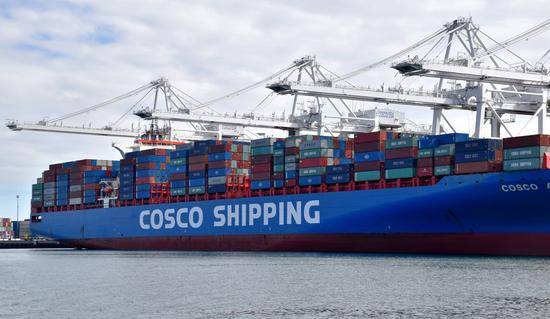 Containers of China COSCO Shipping Corporation Limited are seen at the Port of Long Beach, Los Angeles County, the United States, on Feb. 27, 2019. (Xinhua/Li Ying)