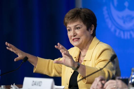 International Monetary Fund (IMF) Managing Director Kristalina Georgieva speaks at a press conference in Washington D.C., the United States, on March 4, 2020. (Xinhua/Liu Jie)