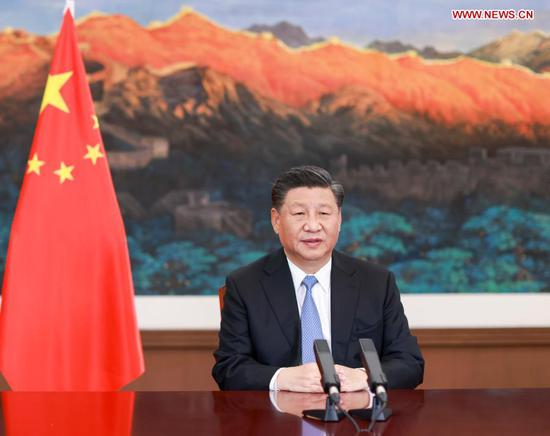 Chinese President Xi Jinping delivers a speech via video link to the Leaders' Side Event on Safeguarding the Planet of the G20 Riyadh Summit on Nov. 22, 2020. (Xinhua/Li Xueren)