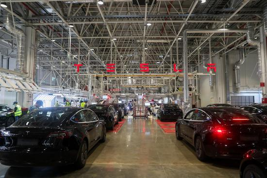 Photo taken on Nov. 20, 2020 shows the interior view of the Tesla Gigafactory in Shanghai, east China. (Xinhua/Ding Ting)