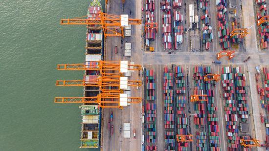 Aerial photo taken on July 30, 2020 shows a view of the Qinzhou terminal of the Beibu Gulf Port in south China's Guangxi Zhuang Autonomous Region. (Photo by Xu Zhiyan/Xinhua)