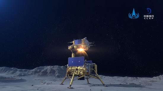 中国航天器载有样品从月球起飞