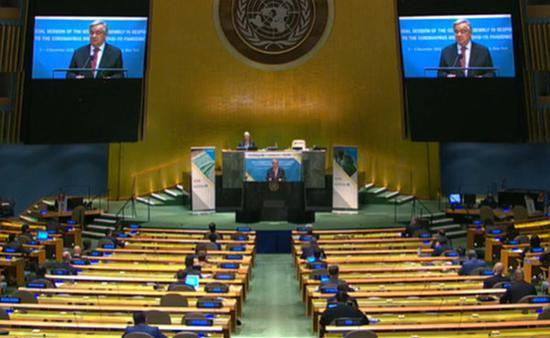 联合国秘书长安东尼奥·古特雷斯(Antonio Guterres)在2020年12月3日于纽约联合国总部针对应对COVID-19大流行的联合国大会特别会议上发表演讲。