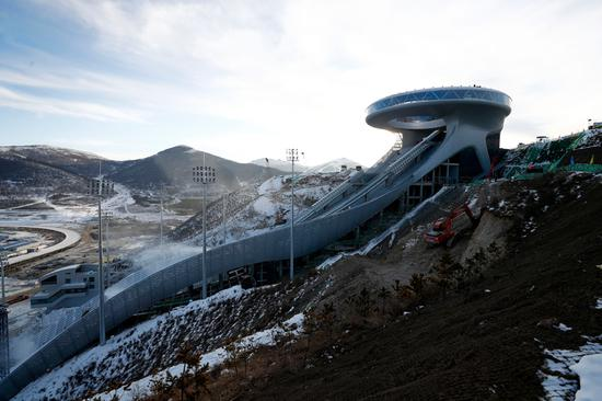 National Ski Jumping Center for Beijing Winter Olympics steps up construction