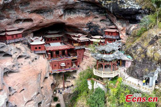 Temple supported by single pillar on a cliff for over 800 years