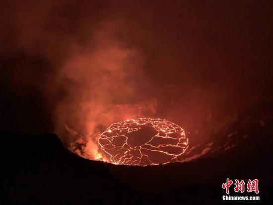 Halemaumau熔岩湖在夏威夷的鸟瞰图