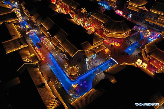 Light decorations at Old Street area in Qilihe District of Lanzhou