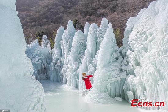 Icicles at Wulaofeng scenic area in N China's Shanxi