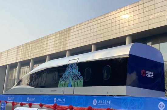 Photo taken on Jan. 13, 2021 shows a prototype train using high-temperature superconducting (HTS) maglev technology in the city of Chengdu, southwest China's Sichuan Province. (Xinhua/Wu Xiaoying)