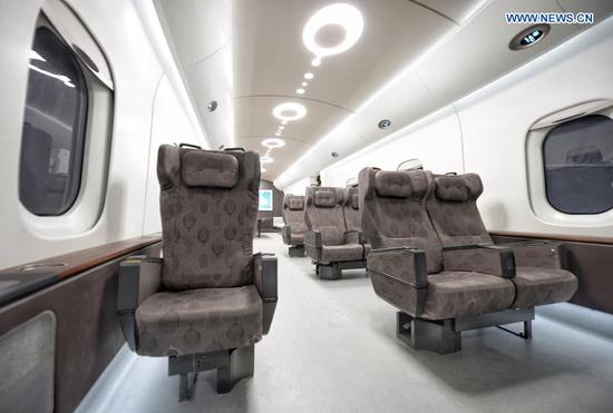 Inside view of China's prototype superfast maglev train