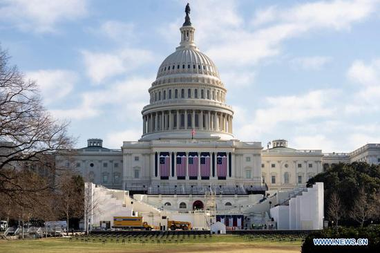 Photo taken on Jan. 13, 2021 shows the U.S. Capitol Building in Washington, D.C., the United States. A majority of lawmakers in the U.S. House on Wednesday voted for impeaching President Donald Trump over