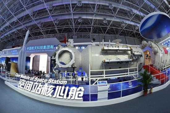 Photo taken on Nov. 5, 2018 shows a full-size model of the core module of China's space station Tianhe exhibited at the 12th China International Aviation and Aerospace Exhibition (Airshow China) in Zhuhai, south China's Guangdong Province. (Xinhua/Liang Xu)