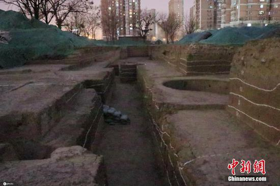 The archaeological excavation site of Zhongdu of Jin Dynasty (1115-1234) at Fengtai district in Beijing.  (Photo/China News Service)