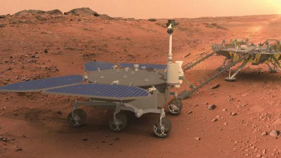 A rendering of China's first Mars rover. (Photo/CCTV)