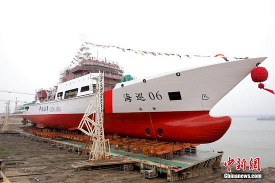 Haixun 06 ocean patrol ship launched from Wuhan shipyard