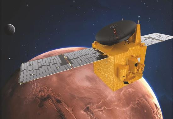 """图为迪拜媒体办公室提供的阿联酋""""希望探测器""""绕火星运行。"""