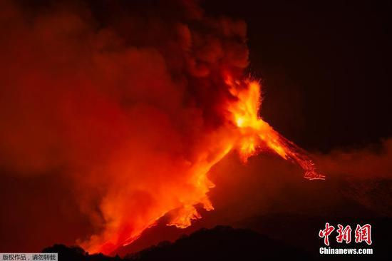 Mount Etna lights up sky with red explosions