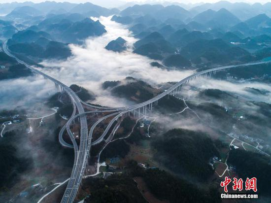 Cloud shrouded highway in Enshi, Hubei