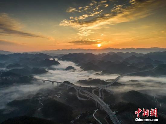 Cloud shrouded highway in Enshi, Hubei