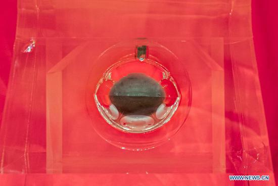Lunar sample brought back by Chang'e-5 probe displayed to public in Beijing