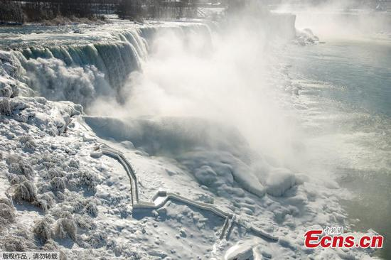Spectacular views of ice-covered Niagara Falls