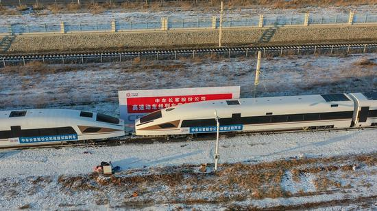 Two eight-car high-speed trains collide in a crashworthiness test in the city of Changchun, northeast China's Jilin Province, March 3, 2021. (Xinhua/Zhang Nan)