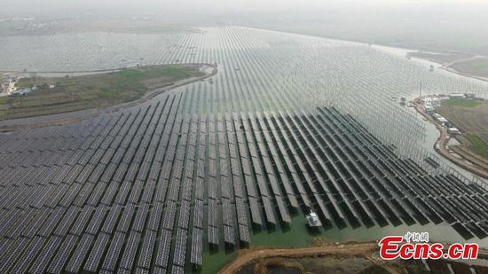 Fish-light complementary photovoltaic power station under construction in Anhui