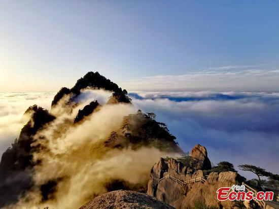 云彩海景在黄山山的