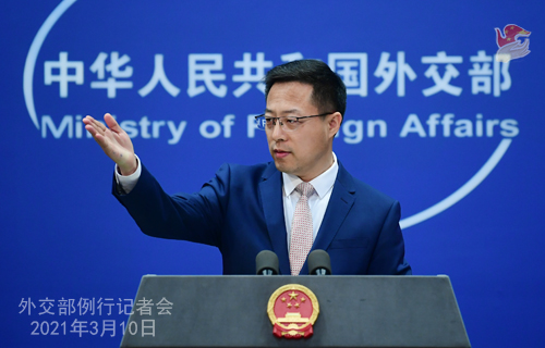 Zhao Lijian, the spokesman for the Chinese Foreign Ministry, speaks at a press conference on Mar. 10, 2021. (Photo/fmprc.gov.cn)
