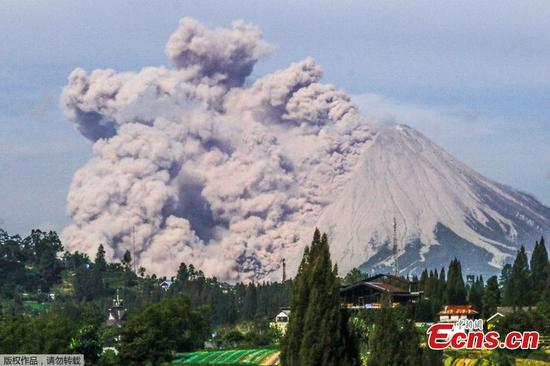 Mount Sinabung spews volcanic materials in Indonesia