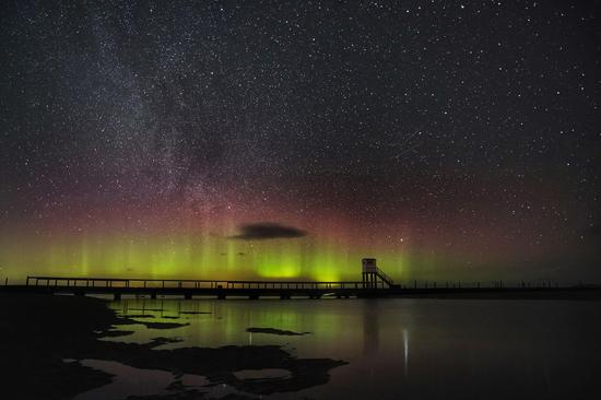 Aurora seen in the sky in Northumberland