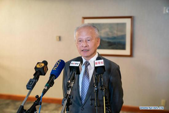 Chinese Ambassador to the United States Cui Tiankai speaks during a joint interview with Chinese media in Anchorage, Alaska, the United States, March 17, 2021. (Xinhua/Liu Jie)