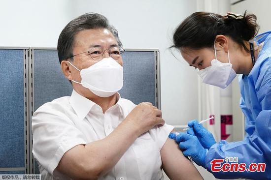 South Korean president gets first dose of COVID-19 vaccine