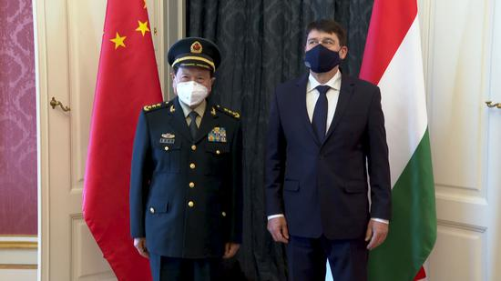 Hungary's President Janos Ader, right, welcomed China's Defense Minister Wei Fenghe to the Sandor Palace in Budapest. (Photo/CGTN)