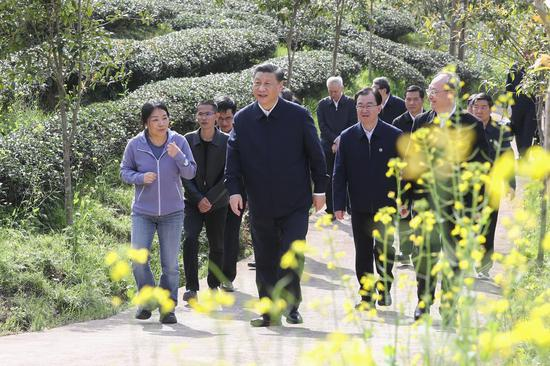 Xi Jinping, general secretary of the Communist Party of China Central Committee, learns about local efforts to develop the tea industry while visiting an eco-friendly tea garden in Nanping City, Fujian Province, March 22, 2021. (Xinhua/Ju Peng)