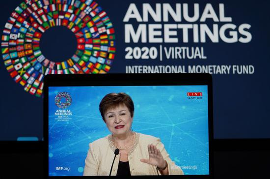 International Monetary Fund (IMF) Managing Director Kristalina Georgieva speaks during a virtual news conference for the annual meeting of the World Bank Group and the IMF in Washington, D.C., the United States, on Oct. 14, 2020. (Xinhua/Liu Jie)