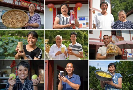 Combo photo taken on July 15, 2020 shows villagers' smiles in Shenshan Village of Jinggangshan, east China's Jiangxi Province. (Xinhua/Peng Zhaozhi)
