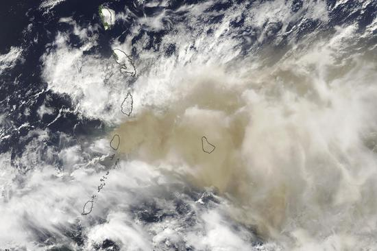 Caribbean island country covered in volcanic ash