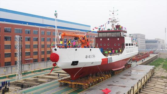 Photo taken on April 15, 2021 shows the Haixun 156, China's first seagoing buoy tender with an ice-breaking function, is ready for water test in Wuhan, capital of central China's Hubei Province. (Photo by Zhang Liang/Xinhua)