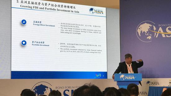 Lin Guijun, executive dean of the Academy of China Open Economy Studies of the University of International Business and Economics, speaks at the Boao Forum for Asia annual conference 2021 in Boao, south China's Hainan Province, April 18, 2021. Wang Tianyu/CGTN