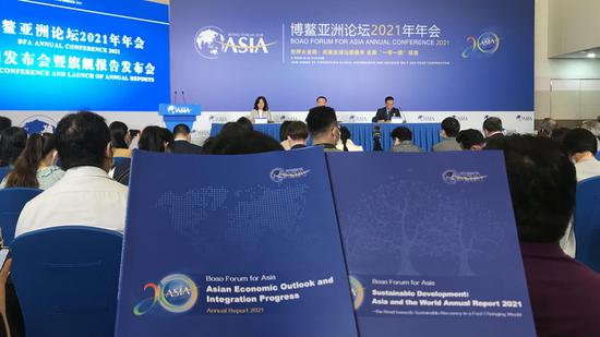 Boao Forum for Asia publishes two annual reports, in Boao, south China's Hainan Province, April 18, 2021. Wang Tianyu/CGTN