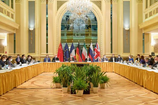 Photo taken on April 20, 2021 shows a meeting of the Joint Commission of the Joint Comprehensive Plan of Action (JCPOA) in Vienna, Austria. (EU Delegation Vienna/Handout via Xinhua)